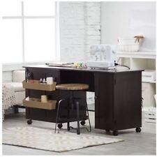 Sewing Table Cabinet Craft Storage Machine Room Sew Furniture Serger Wheel Brown