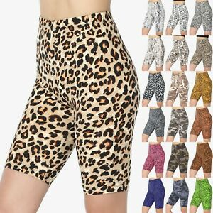 TheMogan Animal Print Mid Thigh Microfiber High Waist Stretch Short Leggings