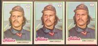 DENNIS ECKERSLEY 1978 TOPPS (3) VINTAGE BASEBALL CARD LOT #122