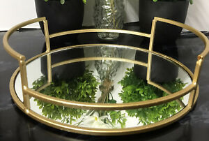 New 25cm round Gold mirror tray wedding table decorative Candle Plate Gift