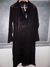 Tokyo Denim Sheer Black Beaded Caftan Coverup Dress NWT Beautiful Dramatic