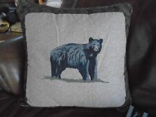 "Donna Sharp Black Bear  Woodland Lodge Cabin Throw Pillow Rustic decor 20"" x 20"""