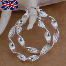 925 Sterling Silver Hoop Earrings Large 4cm Textured Twist Free Gift Bag UK