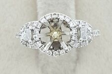 Certified Solid 18K White Gold 50 1/2 Genuine Diamond 1 Ct Round Semi Mount Ring