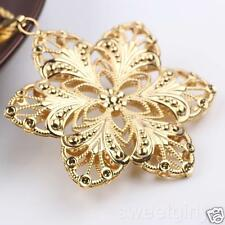 Gentle 24k Yellow Gold Filled Womens Large Flower Pendant With Rope Necklace