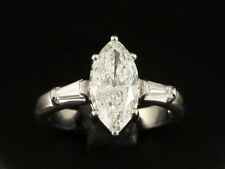 Marquise Diamant Solitär Ring 2,31ct + 0,20ct 750/ Weißgold  K/SI2 DPL-Expertise