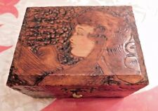 ANTIQUE VICTORIAN GIBSON GIRL PYROGRAPHY BOX LINED