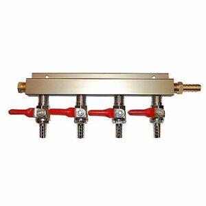 "4 Way CO2 Distribution Block Manifold with 1/4"" Barbs - Draft Beer Dispense Keg"