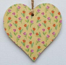 Handmade Wooden Hanging Heart Door Hanger Gorgeous Ditsy Tulips Floral Print