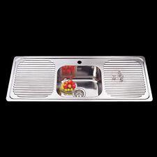 Drop In Topmount Stainless Steel Sink Single Bowl Double Drainer 1180x480x170mm
