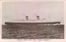 More details for postcard shipping cunard queen elizabeth  real photo unposted