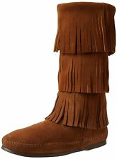 Women's Minnetonka Moccasins 3 Layer Fringe Calf Hi Boot Dusty Brown 7m