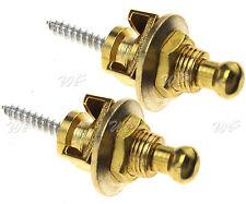 Guitar Strap Locks Buttons Skidproof StrapLock Pegs Pins Bass Alloy Gold