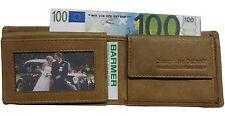 LEDER Geldbörse PIEPEN safari 10,5x 7,5cm 4 Karten Portemonnaie Geldbeutel braun