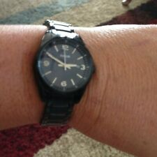 Womens Fossil 3-Hand Stainless Steel Black Watch with Strap Buckle Closure