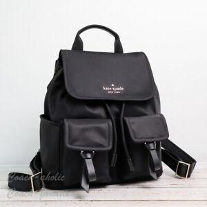NWT Kate Spade Carley Flap Nylon Backpack in Black WKR00122