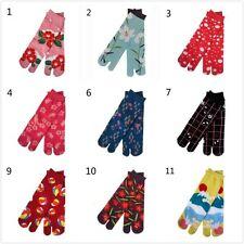 1 Pair Japan Tabi Split Toe Socks Lady Floral Sandals Geta Ninja Slipper Cosplay