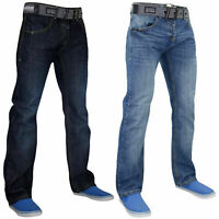 Crosshatch Mens Jeans Straight Leg Casual Denim Pants Trousers With Free Belt