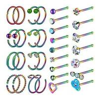 32PCS C-Sahped Nose Hoop Bone Studs Stainless Steel Ear Lip Piercing Rings 20G