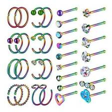 32× Nose Ring Set 316L Stainless Steel Bone Studs Ear Lip Hoop Body Piercing 20G