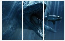 "Jurassic World - Megalodon Dinosaur Film 3 x Split Panel Canvas Pictures 10x20"""