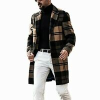Men Faux Wool Check Jackets Thick Trench Coat Plaid Overcoats Warm Blazer Casual