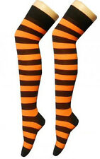 LADIES STRIPE SOCKS OVER THE KNEE THIGH HIGH SOCKS 4-7 BLACK WHITE & MORE - BNWT