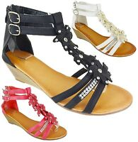 LADIES WOMENS MID HEELS WEDGE SUMMER DRESS PARTY EVENING SANDALS SHOES SIZE 3-8