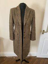 Precis Collection Womens Brown Wool Blend Woven Knee Length Button Coat Size 10