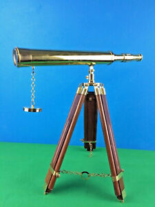 """Antique vintage brass handcrafted 18"""" telescope on wooden tripod spyglass gift"""