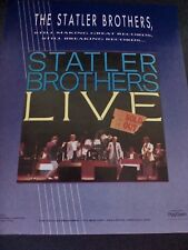 "THE STATLER BROTHERS ""Live""  1989  Original Promo Poster Ad"