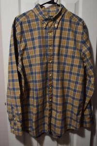 Mens EDDIE BAUER L/S Dress Shirt, L Tall, Multi-color, Plaid, 100% Cotton, GUC