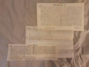 3 Papal Briefs/Papale Breves. Popes Gregory XVI, Leo XII, Pius VI.