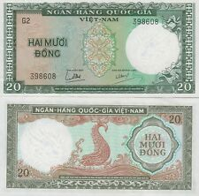 "Viet Nam-South, 20 Dong Banknote,(1964) Uncirculated Cond,Cat#16-A""Dragon Head"""