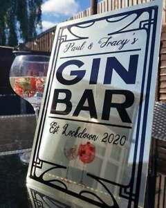 NEW! PERSONALISED LARGE METAL GIN BAR SIGN! PERFECT FOR GARDENS & HOME BARS!(28)