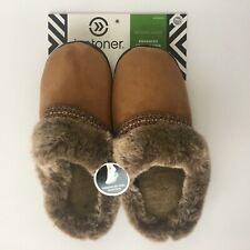 Isotoner Woodlands Buckskin Scuff Slippers Womens Medium 7.5/8 with Heel Cushion