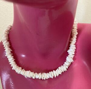 """Vintage Puka Shell Necklace 16"""" Hawaiian Seashell Beaded Chips Spring Clasp"""