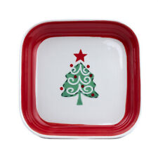 "Ceramic Xmas Plate Square 6"" - Christmas Tree Design"