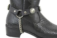Men Boot Bracelet Silver Chain Black Pair Leather 2 Straps Buffalo Bull Western