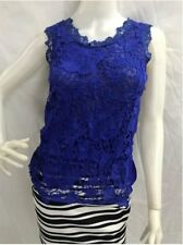 Sleeveless Floral Lace Blouse - Blue