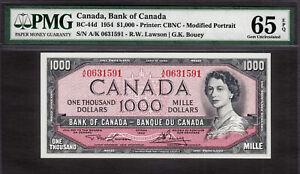 Canada 1000 Dollars 1954 BC-44d Lawson/Bouey A/K Pick-83d GEM UNC PMG 65 EPQ