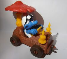 TREE TRUNK CAR SUPER SMURF VINTAGE by SCHLEICH FROM THE SMURFS - 40232