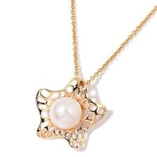 """Fresh Water White Pearl Pendant With Gold Tone Stainless Steel Chain 20"""""""