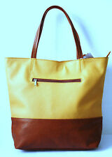 New Real Leather Handbag brown Shoulder Medium Tote Bag Two Handles outer pocket