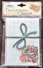 Treasure Chest Card Making Kit 5 Floral Debossed Cards Envelopes Inserts Sequins