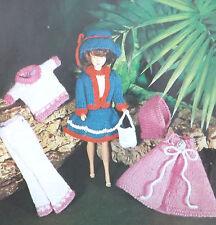 Muñecas Vintage Tejer patrón de ropa de juguete Sindy/Vestido Barbie Suéter Sombrero Bolsa M346