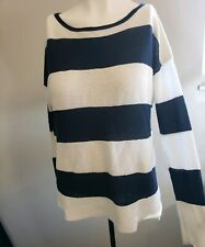 Vince Thin Ribbed Blue And White Striped Sweater Size Medium