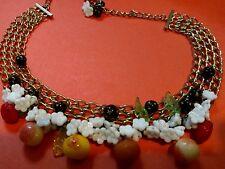 HOBE FRUIT SALAD Necklace and Bracelet Glass Fruit & Flowers