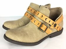 Blowfish Anotole Ankle Bootie Boot Canvas Leather Strap Womens 8.5 FAST SHIP