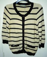 M&S Woman Cream & Navy Long Sleeve Cotton Cardigan UK16